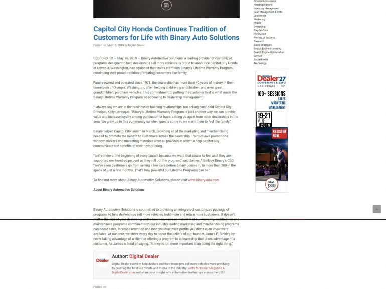 Capitol City Honda Continues Tradition of Customers for Life with Binary Auto Solutions – Digital Dealer